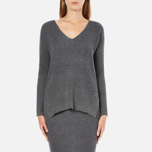 Paisie Women's V Neck Ribbed Jumper - Marl Grey