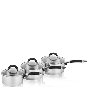 Swan Saucepan Set with Silicone Handles - Stainless Steel - 16/18/20cm (3 Piece)
