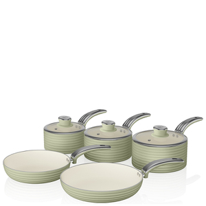 Swan Retro Pan Set - Green (5 Piece)