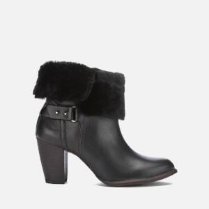 UGG Women's Jayne Suede Sheepskin Heeled Boots - Black