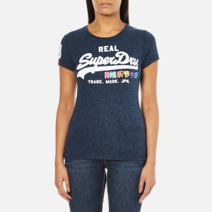 Superdry Women's Vintage Logo Rainbow T-Shirt - Nautical Navy