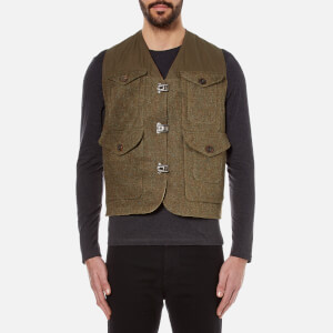Nigel Cabourn Men's Hybrid Finish Harris Tweed Cameraman Converse Vest Jacket - Army