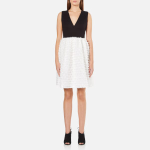 French Connection Women's Summer Sky V Neck Flared Dress - Winter White/Black