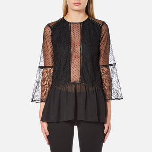 Perseverance Women's Lace Top with Crop Flare Sleeve and Dobby Mesh Inserts - Black