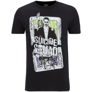 DC Comics Mens Suicide Squad Harley and Joker Cards T-Shirt - Zwart