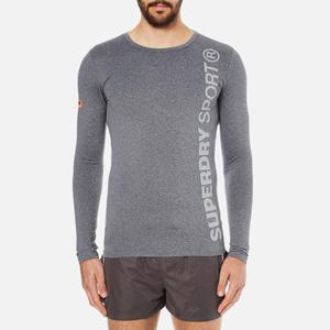 Superdry Men's Gym Sport Runner Long Sleeve Top - Grey Grit