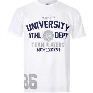 Varsity Team Players Men's University Athletic T-Shirt - White