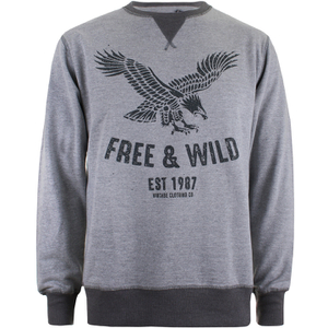 Cotton Soul Men's Free & Wild Sweatshirt - Grey Marl