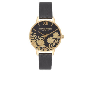 Olivia Burton Women's Lace Detail Midi Watch - Black/Gold
