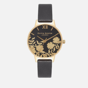 Olivia Burton Women's Lace Detail Midi Watch - Black/Gold