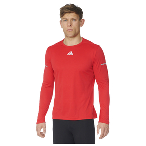 adidas Men's Sequencials Climalite Running Long Sleeve T-Shirt - Red