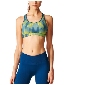 adidas Women's Print Training Racer Back Bra - Green