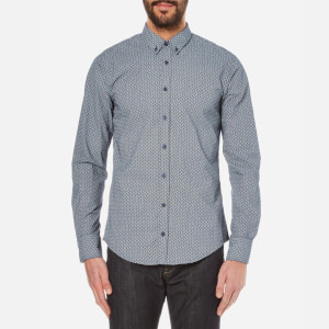 BOSS Orange Men's Epidoe Patterned Long Sleeve Shirt - Dark Blue