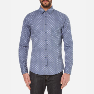 BOSS Orange Men's Eslime Micro Paisley Long Sleeve Shirt - Dark Blue