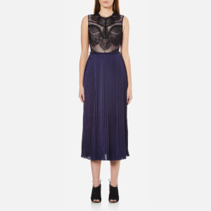 Three Floor Women's Whistle Lace and Pleat Skirt Dress - Navy/Black