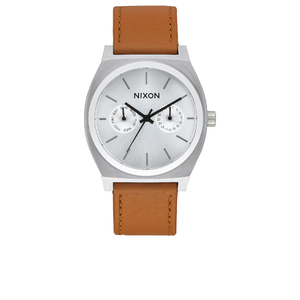 Nixon Time Teller Deluxe Watch - Silver Sunray/Saddle