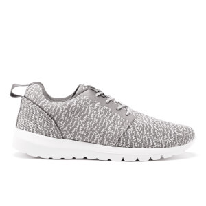 Crosshatch Mens Telson Knit Low Top Trainers - Mid Grey - UK 9
