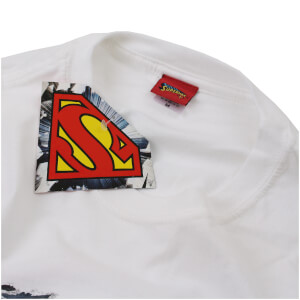 DC Comics Men's Superman Torn Logo T-Shirt - White: Image 2