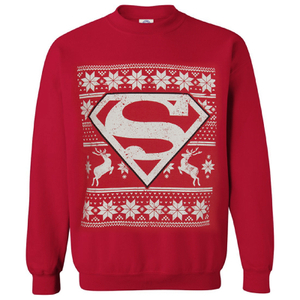 DC Comics Men's Superman Fairisle Weihnachs-Sweatshirt - Rot