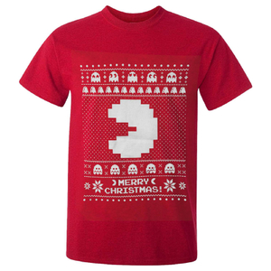 Namco Men's Merry Pac-Man Christmas T-Shirt - Red