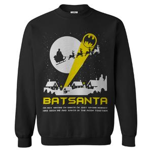 """DC Comics Men's Batman """"Batsanta"""" Weihnachts-Sweatshirt – Schwarz"""