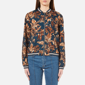 Gestuz Women's Brielle Printed Bomber Jacket - Teal Flower Print
