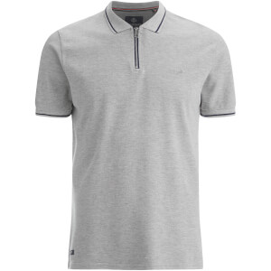 Threadbare Men's Redcar Short Sleeve Zip Polo Shirt - Grey