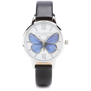 Olivia Burton Woodland Vegan Friendly Butterfly Watch - Black and Silver