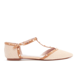Dune Women's Heti Embossed Leather Pointed Flats - Nude