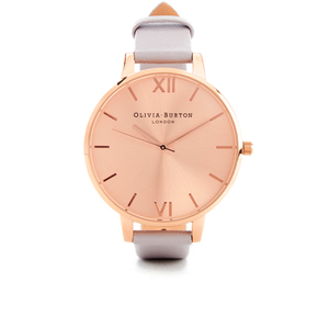 Olivia Burton Women's Big Dial Watch - Grey Lilac & Rose Gold