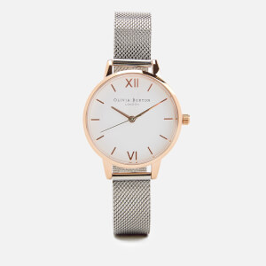 Olivia Burton Women's White Dial Mesh Watch - Rose Gold & Silver