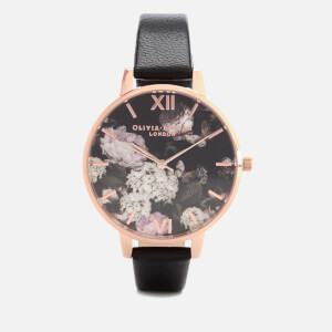 Olivia Burton Women's Winter Garden Hydrangea Watch - Black/Rose Gold
