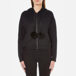 Karl Lagerfeld Women's Hoody with Fur Pom Poms - Black