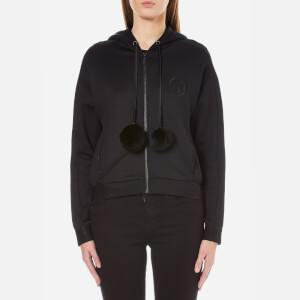 Karl Lagerfeld Women's Hoody with Fur Pom Poms - Black