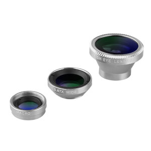 Acesori 5 Piece Smartphone Camera Lens Kit - Silver (Inc. Cleaning Cloth and Carrying Pouch)