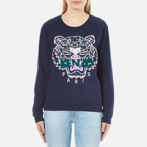 KENZO Women's Post It X Tiger Embroidery On Light Cotton Molleton Sweatshirt - Ink