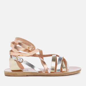 Ancient Greek Sandals Women's Satira Multi Strap Vachetta Leather Gladiator Sandals - Pink Metal/Silver/Platinum