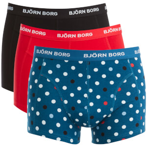 Bjorn Borg Men's 3 Pack Contrast Dot Detail Boxers - Blue