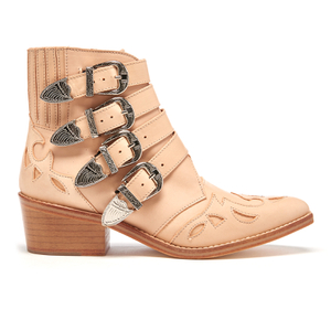 Toga Pulla Women's Buckle Side Leather Heeled Ankle Boots - Beige