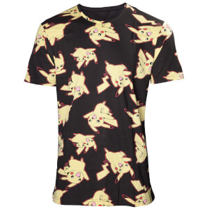 Pokémon All Over Pikachu Print T-Shirt - Black