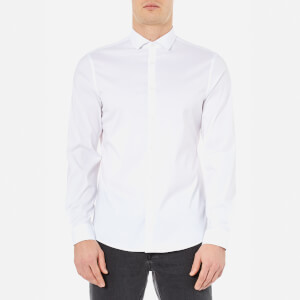 Michael Kors Men's Slim Fit Spread Collar Stretch Nylon Poplin Long Sleeve Shirt - White