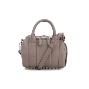 Alexander Wang Women's Mini Rockie Pebbled Leather Stud Detail Bowler Bag - Mink Grey