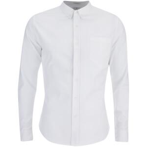 Crosshatch Herren Almond Long Sleeve Shirt - White