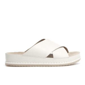 Clarks Women's Alderlake Lily Leather Double Strap Slide Sandals - White