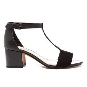 Clarks Women's Barley Belle Leather T Bar Mid Heels - Black Combi