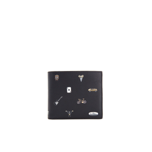 Paul Smith Men's Cufflink Print Leather Billfold Wallet - Black