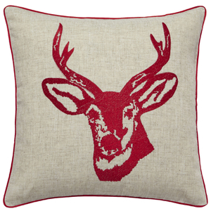 Catherine Lansfield Stags Head Cushion (45cm x 45cm) - Red