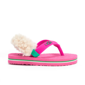 UGG Babies' Yia Yia II Neon Sheepskin Back Toe Post Sandals - Pink