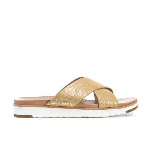UGG Women's Kari Treadlite Metallic Slide Sandals - Gold