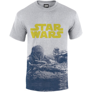 Star Wars Rogue One Men's Blue Death Trooper Print T-Shirt - Grey